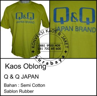 Kaos Oblong Q & Q Japan  Bahan : Semi Cotton Sablon Rubber
