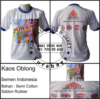 Kaos Oblong Semen Indonesia Bahan : Semi Cotton Sablon Rubber