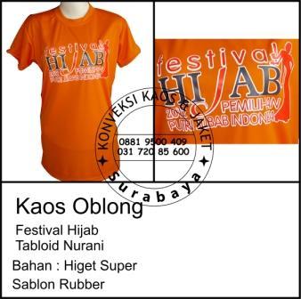 Kaos Oblong Festival Hijab Tabloid Nurani Bahan : Higet Super Sablon Rubber