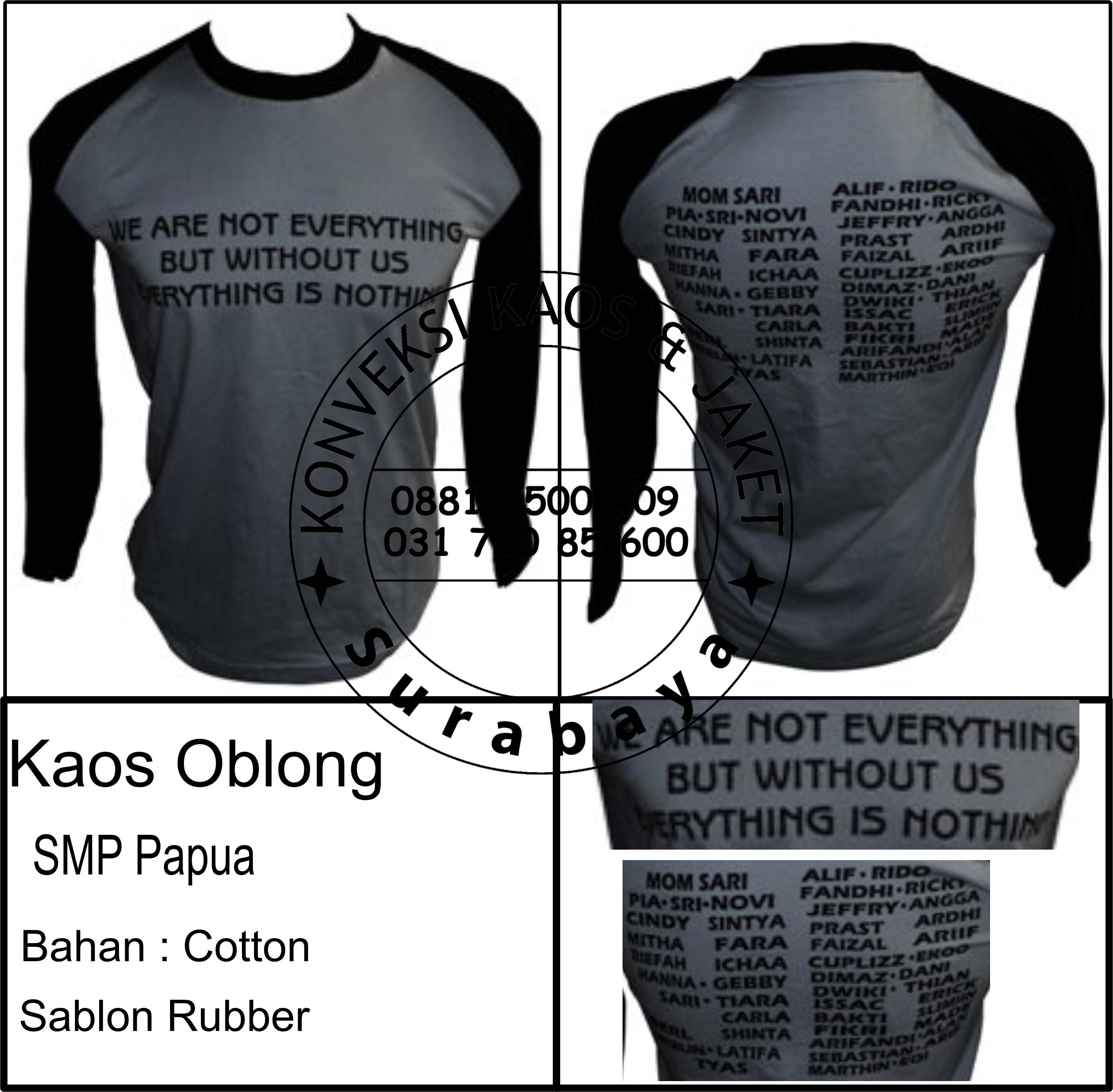Kaos Oblong SMP Papua Bahan : Cotton Sablon Rubber